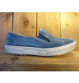 Double You Schuhe by Dessy Blauer Slipper aus Leder mit herausnehmbarer Innensohle.