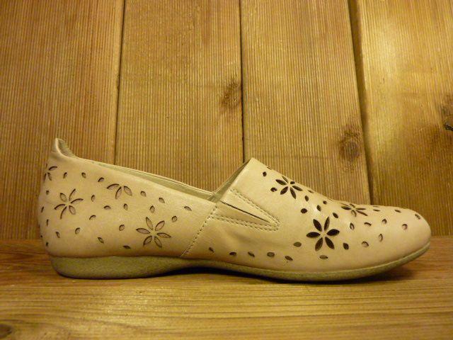 """Josef Seibel Schuhe Hell-beige Halbschuhe """"Fiona"""" in floralem Muster mit Wechselfußbett für Einlagen"""