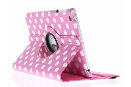 Roze 360° draaibare tablethoes met polka dot design voor de iPad Mini / 2 / 3