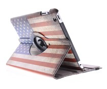 360° draaibare hoes USA vlag iPad 2 / 3 / 4