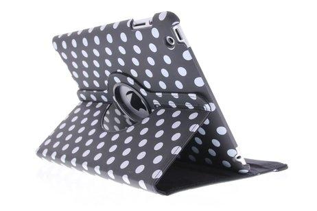 Zwarte 360° draaibare tablethoes met polka dot design voor de iPad 2 / 3 / 4