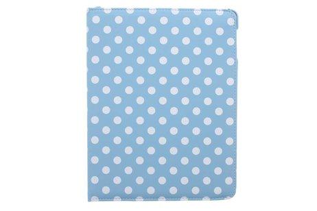 Lichtblauwe 360° draaibare polka dot tablethoes voor de iPad 2 / 3 / 4