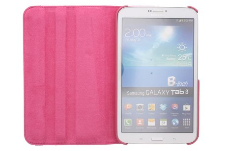 Samsung Galaxy Tab 3 8.0 hoesje - Fuchsia 360° draaibare tablethoes