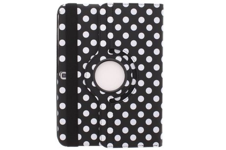 Samsung Galaxy Tab 4 10.1 hoesje - Zwarte 360° draaibare polka