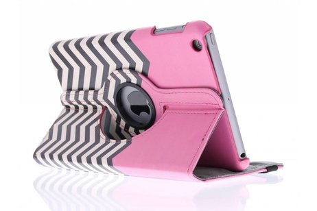 360º draaibare roze chevron design tablethoes voor de iPad Mini / 2 / 3