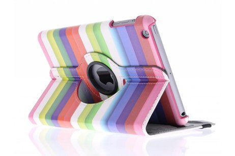 360º draaibare strepen design tablethoes voor de iPad Mini / 2 / 3