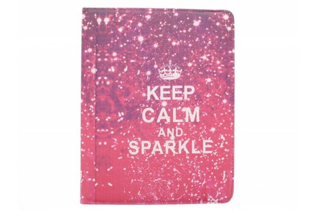 360° draaibare Keep Calm and Sparkle design tablethoes voor de iPad 2 / 3 / 4