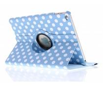 Lichtblauw 360° draaibare polka dot tablethoes iPad Air 2