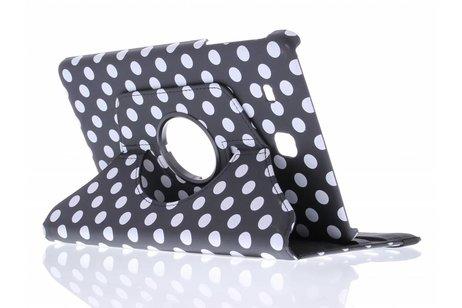 Samsung Galaxy Tab E 9.6 hoesje - Zwarte 360° draaibare polka