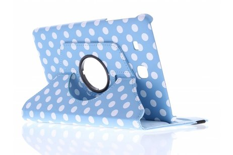Samsung Galaxy Tab E 9.6 hoesje - Lichtblauwe 360° draaibare polka