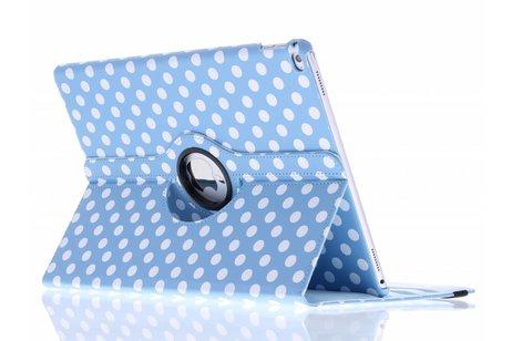 iPad Pro 12.9 hoesje - Lichtblauwe 360º draaibare polka