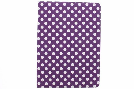 iPad Pro 12.9 hoesje - Paarse 360º draaibare polka
