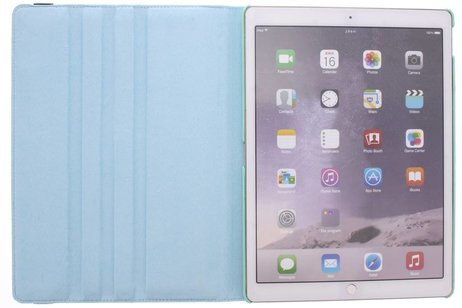 iPad Pro 12.9 hoesje - Turquoise 360º draaibare krokodil