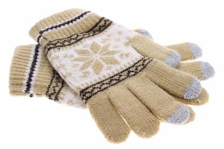 Beige Noorse touchscreen handschoenen