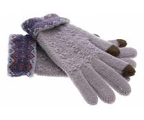 Grijs gebreide touchscreen handschoenen