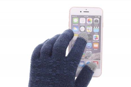 Blauwe gebreide touchscreen handschoenen