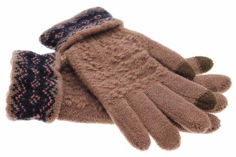 Bruine gebreide touchscreen handschoenen