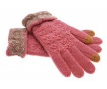 Roze gebreide touchscreen handschoenen