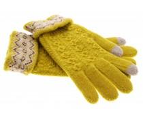Geel gebreide touchscreen handschoenen