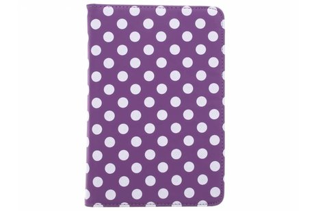 iPad Mini 4 hoesje - Paarse 360° draaibare polka