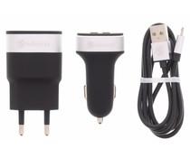 Selencia USB Oplaadkit 3 in 1 - Zwart / Zilver