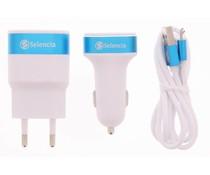 Selencia USB Oplaadkit 3 in 1 - Wit / Blauw