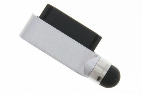 Compacte stylus en anti stof plug in één - Zilver