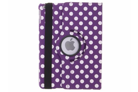 Paarse 360° draaibare polka dot tablethoes voor de iPad (2018) / (2017)
