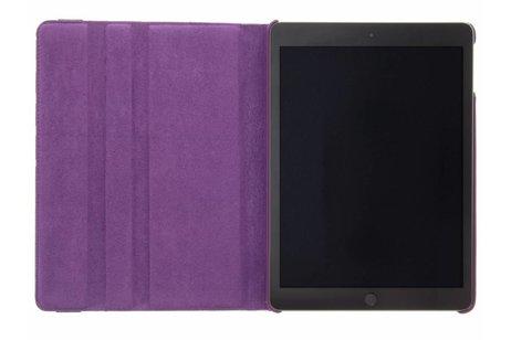 iPad (2017) hoesje - Paarse 360° draaibare polka