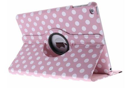 Roze 360° draaibare polka dot tablethoes voor de iPad (2018) / (2017)