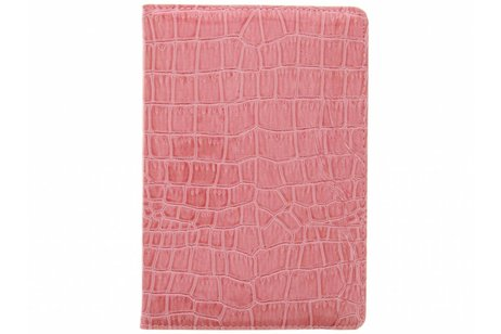 Roze 360° draaibare krokodil tablethoes voor de iPad Mini / 2 / 3