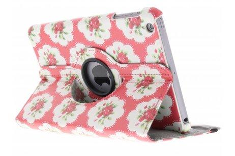 360° draaibare roze bloemen design hoes voor de iPad Mini / 2 / 3
