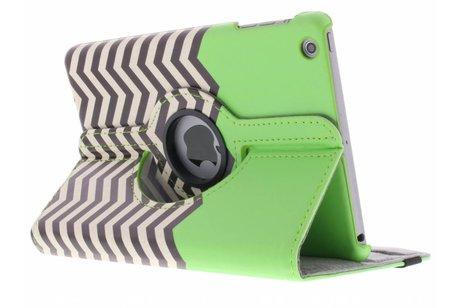 360° draaibare groene zigzag design hoes voor de iPad Mini / 2 / 3