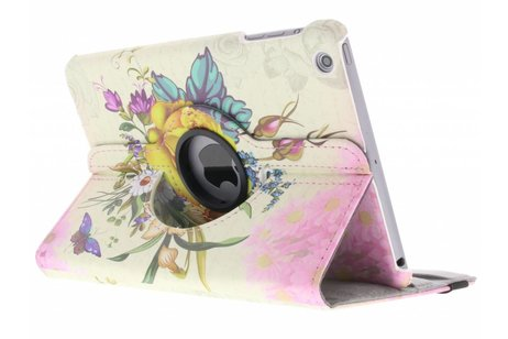360° draaibare yellow rose design hoes voor de iPad Mini / 2 / 3