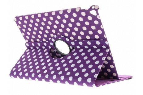 iPad Pro 12.9 (2017) hoesje - Paarse 360° draaibare polka