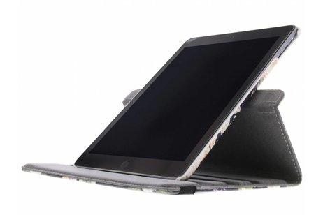 iPad (2017) hoesje - 360° draaibare zwart bloemen