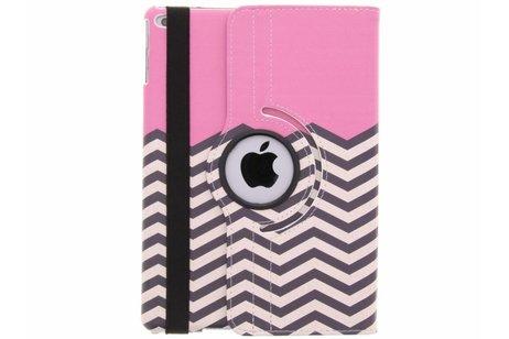 360° draaibare roze chevron design hoes voor de iPad (2018) / (2017)