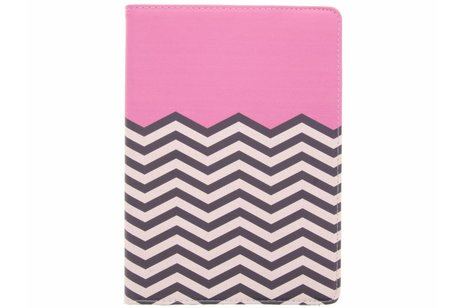 iPad (2017) hoesje - 360° draaibare roze chevron