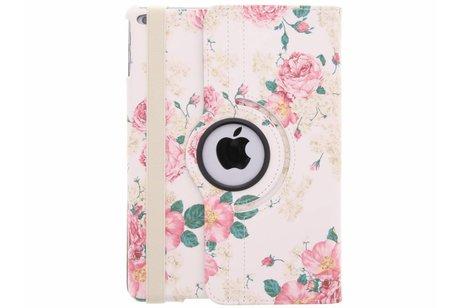 360° draaibare rozen design hoes voor de iPad (2018) / (2017)
