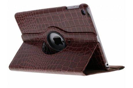 Bruine 360° draaibare krokodil tablethoes voor de iPad (2018) / (2017)
