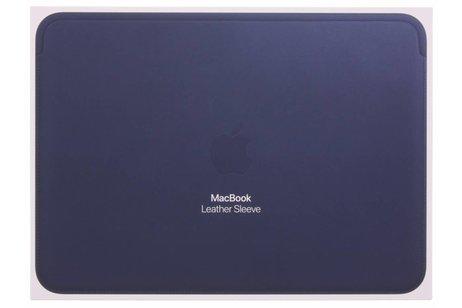MacBook 12 inch hoesje - Apple Blauwe Leather Sleeve