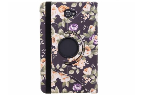 Samsung Galaxy Tab A 10.1 (2016) hoesje - 360° draaibare Zwart Bloemen