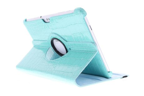 Samsung Galaxy Tab 2 10.1 hoesje - Turquoise krokodil 360° draaibare