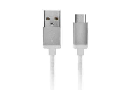 Xqisit Witte Cotton Cable Sync and Charge USB-C naar USB kabel - 1,8 meter