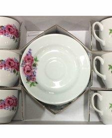 Kütahya Porselen Türk kahvesi seti (Güller) (12 parça)