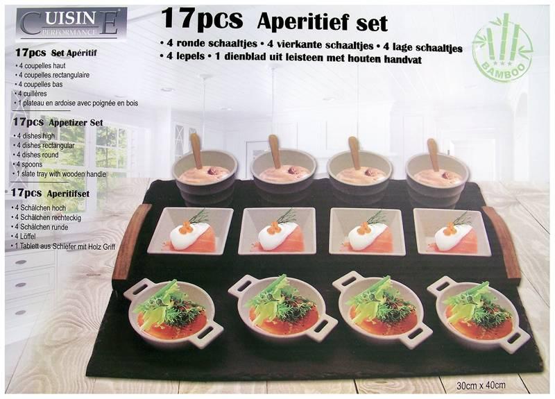 Cuisine Performance Leistenen dienblad met 12 tapasschaaltjes