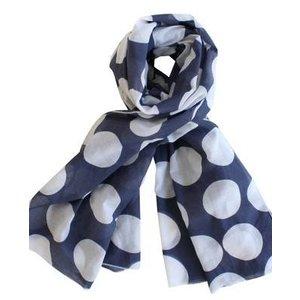 Krasilnikoff Sjaal blauw met witte stip