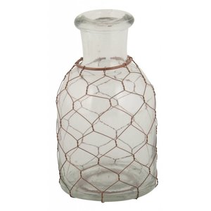 Ib Laursen Glazen kandelaar klein met koper netje