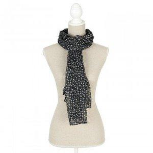 Clayre & Eef Sjaal zwart met witte sterretjes