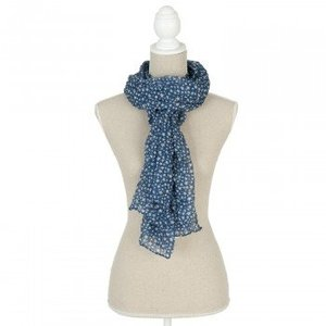 Clayre & Eef Sjaal blauw met witte sterretjes